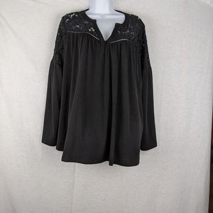 Lane bryant black lace yoke flowy top